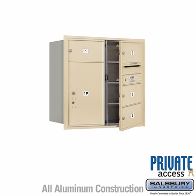 Salsbury 3708D-04SFP 4C Mailboxes 4 Tenant Doors Front Loading