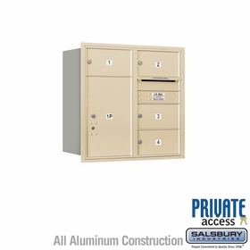 Salsbury 3708D-04SRP 4C Mailboxes 4 Tenant Doors Rear Loading