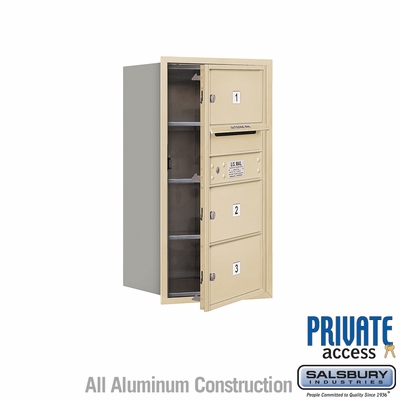 Salsbury 3708S-03SFP 4C Mailboxes 3 Tenant Doors Front Loading