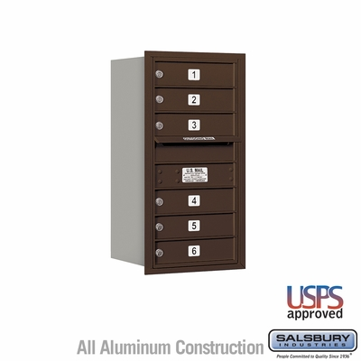 Salsbury 3708S-06ZRU 4C Mailboxes 6 Tenant Doors Rear Loading
