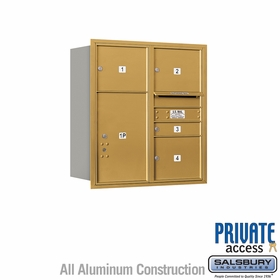 Salsbury 3709D-04GRP 4C Mailboxes 4 Tenant Doors Rear Loading