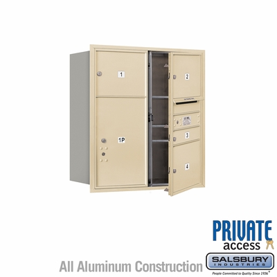 Salsbury 3709D-04SFP 4C Mailboxes 4 Tenant Doors Front Loading