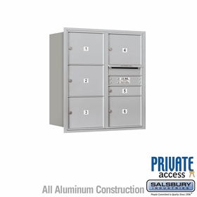Salsbury 3709D-06ARP 4C Mailboxes 6 Tenant Doors Rear Loading