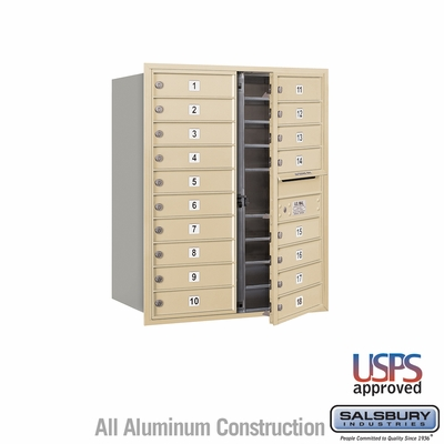 Salsbury 3710D-18SFU 4C Mailboxes 18 Tenant Doors Front Loading