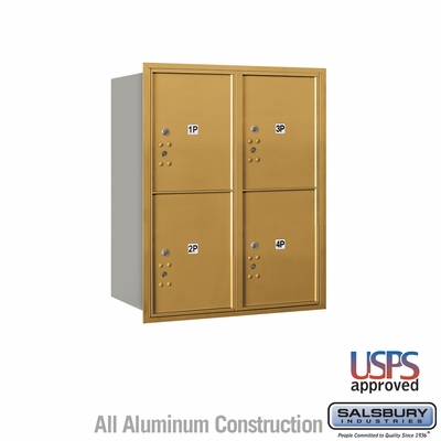 Salsbury 3710D-4PGRU 4C Mailboxes 4 Parcel Lockers Rear Loading