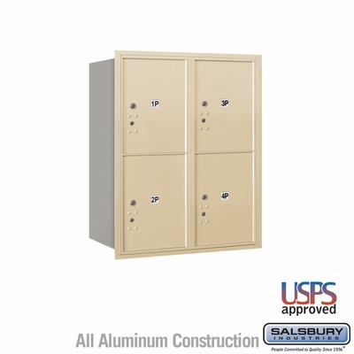 Salsbury 3710D-4PSRU 4C Mailboxes 4 Parcel Lockers Rear Loading