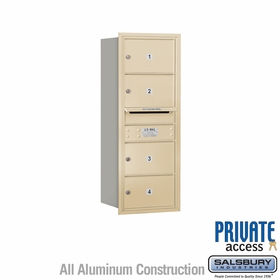 Salsbury 3710S-04SRP 4C Mailboxes 4 Tenant Doors Rear Loading