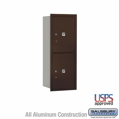 Salsbury 3710S-2PZRU 4C Mailboxes 2 Parcel Lockers Rear Loading