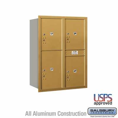 Salsbury 3711D-4PGRU 4C Mailboxes 4 Parcel Lockers Rear Loading