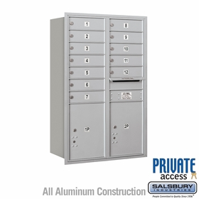 Salsbury 3712D-12ARP 4C Mailboxes 12 Tenant Doors Rear Loading