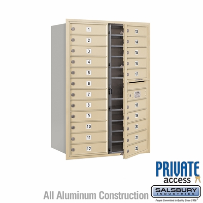 Salsbury 3712D-22SFP 4C Mailboxes 22 Tenant Doors Front Loading