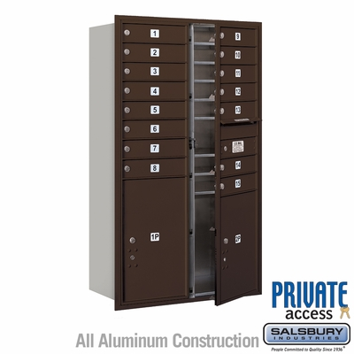 Salsbury 3714D-15ZFP 4C Mailboxes 15 Tenant Doors Front Loading