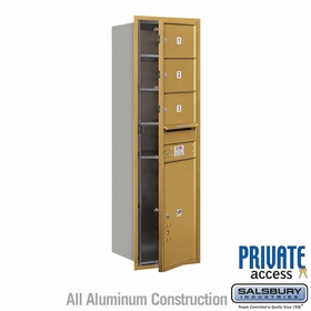 Salsbury 3714S-03GFP 4C Mailboxes 3 Tenant Doors Front Loading