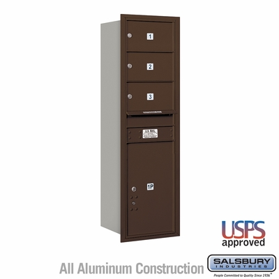 Salsbury 3714S-03ZRU 4C Mailboxes 3 Tenant Doors Rear Loading