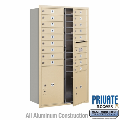 Salsbury 3715D-17SFP 4C Mailboxes 17 Tenant Doors Front Loading