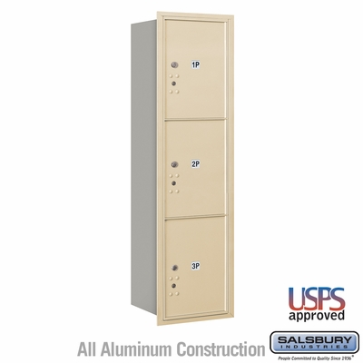 Salsbury 3715S-3PSRU 4C Mailboxes 3 Parcel Lockers Rear Loading