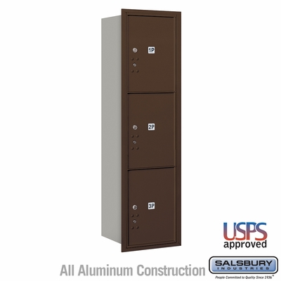 Salsbury 3715S-3PZRU 4C Mailboxes 3 Parcel Lockers Rear Loading