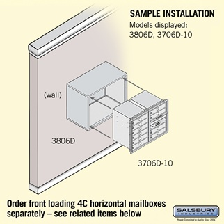Salsbury 3806D-SAN Surface Mounted Enclosure - for 3706 Double Column Unit - Sandstone