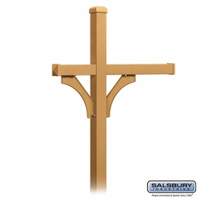 Salsbury 4373D-BRS Deluxe In-Ground Post for (3) Designer Roadside Mailboxes - Brass
