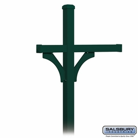 Salsbury 4373GRN Deluxe Post - 2 Sided - In-Ground - for (3) Roadside Mailboxes - Green