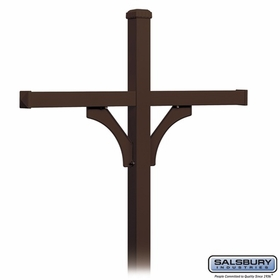 Salsbury 4374D-BRZ Deluxe In-Ground Post for (4) Designer Roadside Mailboxes - Bronze
