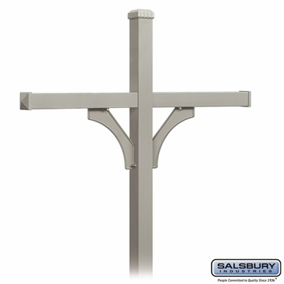 Salsbury 4374D-NIC Deluxe In-Ground Post for (4) Designer Roadside Mailboxes - Nickel