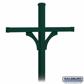 Salsbury 4374GRN Deluxe Post - 2 Sided - In-Ground - for (4) Roadside Mailboxes - Green