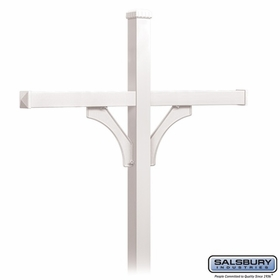 Salsbury 4374WHT Deluxe Post - 2 Sided - In-Ground - for (4) Roadside Mailboxes - White