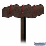 Salsbury 4850BZ-9583 Three Heavy Duty Antique Rural Mailboxes with In-Ground Post Bronze