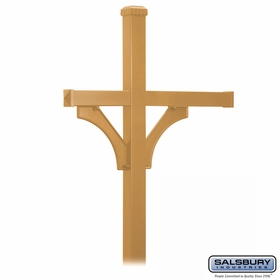 Salsbury 4873BRS Deluxe Mailbox Post - 2 Sided for (3) Mailboxes - In-Ground - Brass