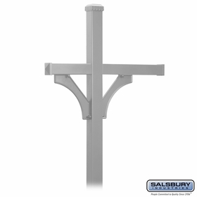 Salsbury 4873NIC Deluxe Mailbox Post - 2 Sided for (3) Mailboxes - In-Ground - Nickel