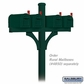 Salsbury 4874GRN Deluxe Mailbox Post 2 Sided For (4) Mailboxes In Ground Mounted Green Finish