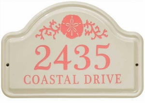 Whitehall Sand Dollar Ceramic Arch Standard Wall Plaque - Two Line