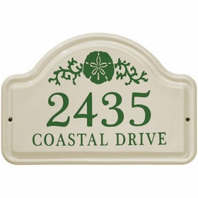 Whitehall Sand Dollar Ceramic Arch Standard Wall Plaque - Two Line - Green