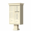 Sandstone Cluster Box Unit with Crown Cap and Pillar Pedestal - 16 Tenant Doors