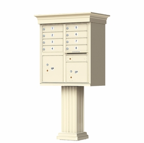 Sandstone Cluster Box Unit with Crown Cap and Pillar Pedestal accessories - 8 compartment