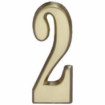 "Satin Brass 5"" House Address Numbers Number ""2"""
