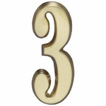 "Satin Brass 5"" House Address Numbers Number ""3"""