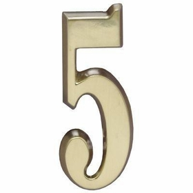 "Whitehall Satin Brass 5"" House Address Numbers Number ""5"""