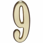 "Satin Brass 5"" House Address Numbers Number ""9"""
