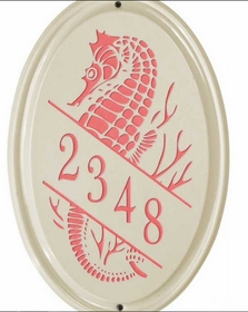 Whitehall Sea Horse Ceramic Oval - Vertical Standard Wall Plaque - One Line - Coral