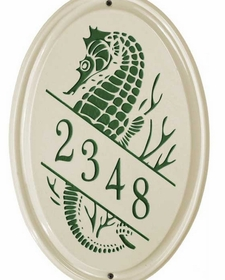 Whitehall Sea Horse Ceramic Oval - Vertical Standard Wall Plaque - One Line - Green