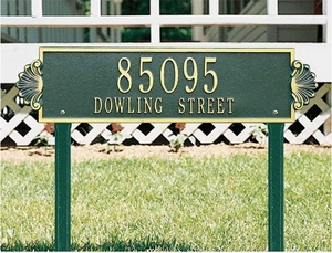 Whitehall Shell Horizontal - Estate Lawn Address Sign - Two Line