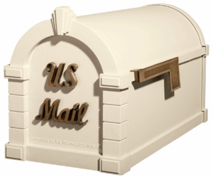 Signature Keystone Series Mailboxes Almond with Antique Bronze