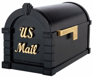Signature Keystone Series Mailboxes Black with Polished Brass