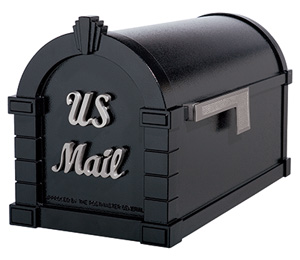 Signature Keystone Series Mailboxes Black with Satin Nickel