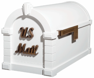 Signature Keystone Series Mailbox - White with Antique Bronze Script