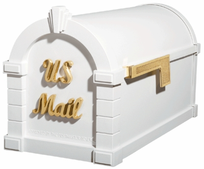 Signature Keystone Series Mailboxes White with Polished Brass