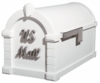 Signature Keystone Series Mailbox - White with Satin Nickel Script