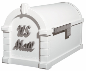 Signature Keystone Series Mailboxes White with Satin Nickel